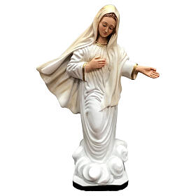 Our Lady of Medjugorje statue gold decor 28 cm painted resin s1