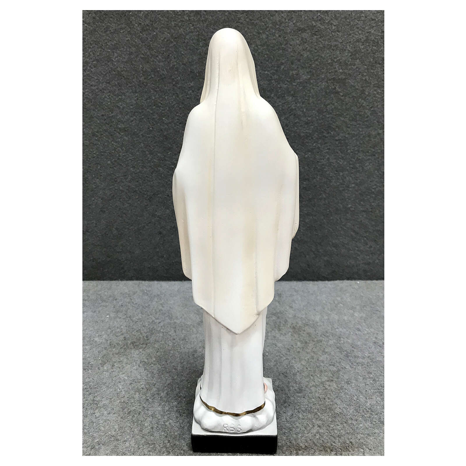 Our Lady Queen of Peace statue painted resin white dress 30 cm 4