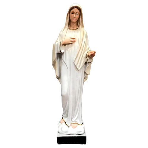 Our Lady Queen of Peace statue painted resin white dress 30 cm 1