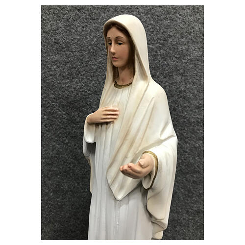 Our Lady Queen of Peace statue painted resin white dress 30 cm 6