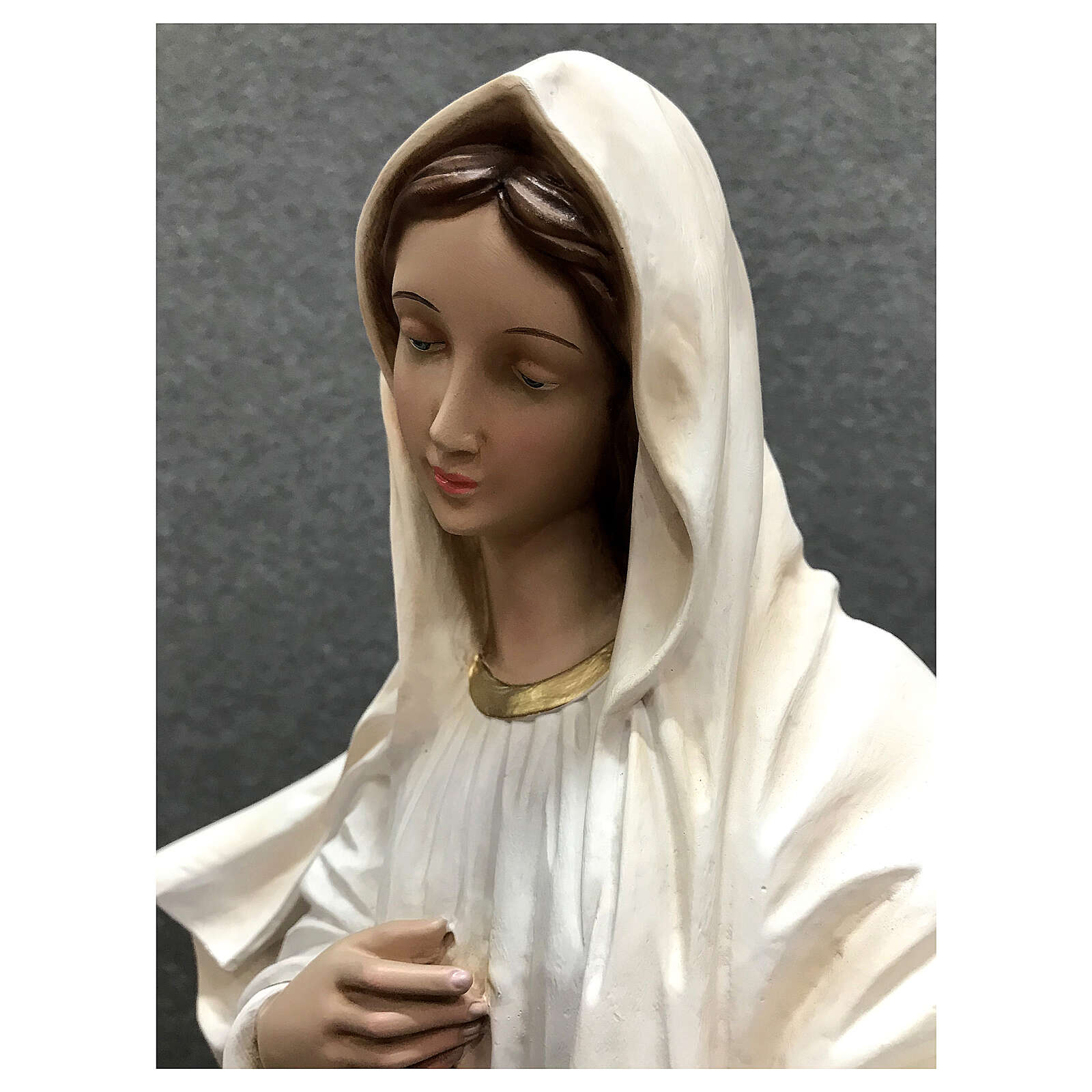 Our Lady of Medjugorje statue white tunic 60 cm painted resin 4