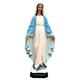 Imagem Nossa Senhora da Medalha Milagrosa manto azul claro detalhes dourados resina pintada altura 60 cm
