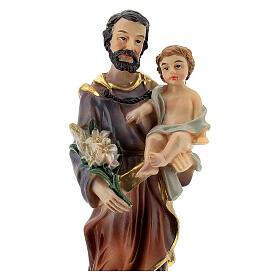 Statua San Giuseppe Bambino gigli 12 cm resina