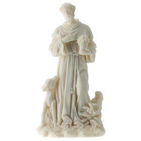 Estatua San Francisco de Asís resina blanca 17 cm