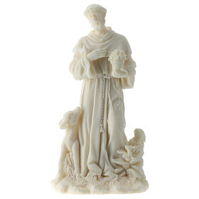 Statua San Francesco D'Assisi resina bianca 17 cm