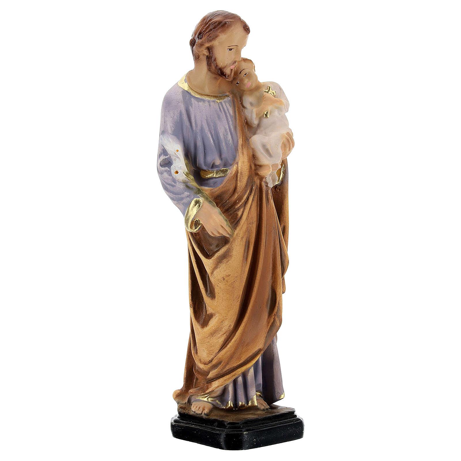 Estatua San José pintada a mano resina 16 cm 4