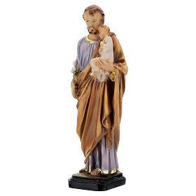 Statua San Giuseppe dipinta a mano resina 16 cm