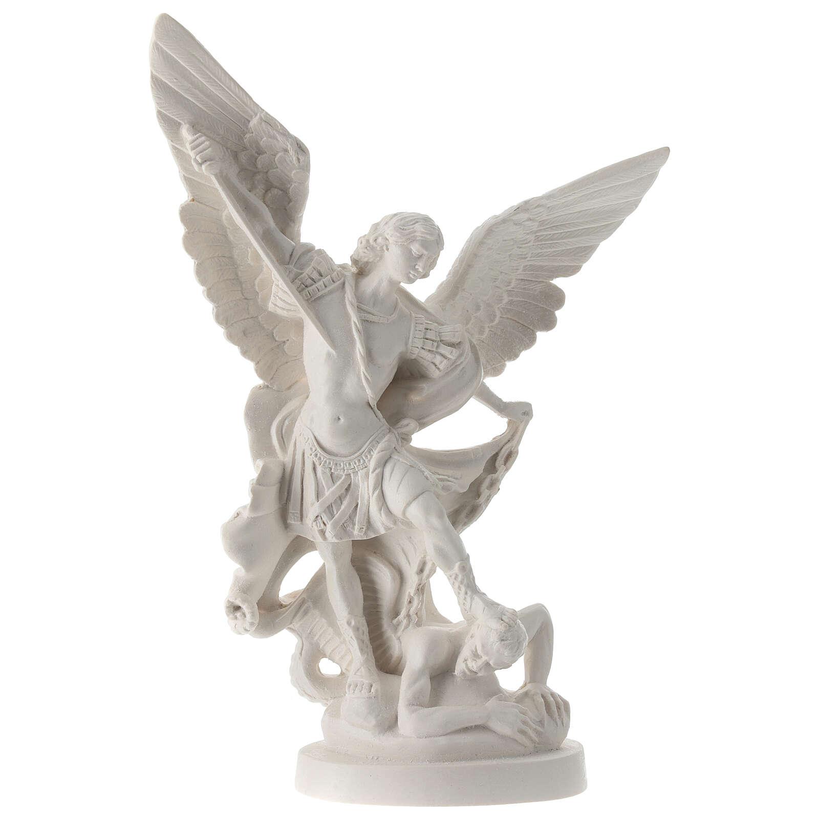 Estatua Arcángel Miguel resina blanca 28 cm 4