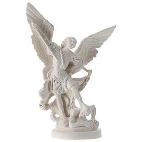 Estatua Arcángel Miguel resina blanca 28 cm s1