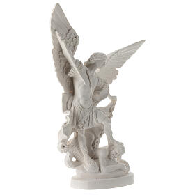 Estatua Arcángel Miguel resina blanca 28 cm s4