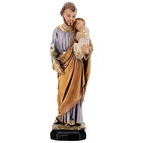 Estatua resina San José Jesús niño resina 30 cm s1