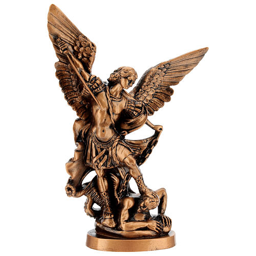 Estatua resina color bronce San Miguel Arcángel 30 cm 1