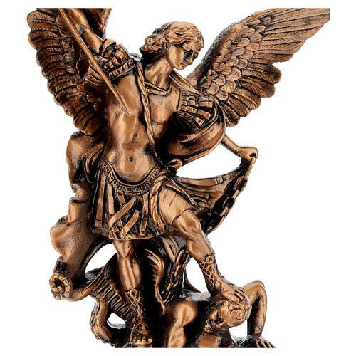 Estatua resina color bronce San Miguel Arcángel 30 cm 2