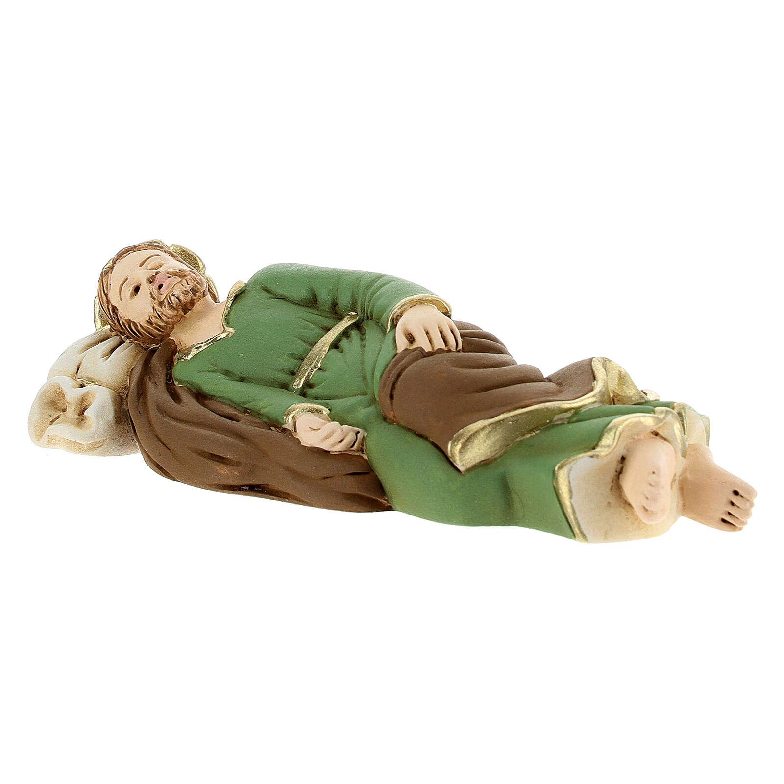 Estatua San José que duerme resina detalles dorados13,5 cm 4