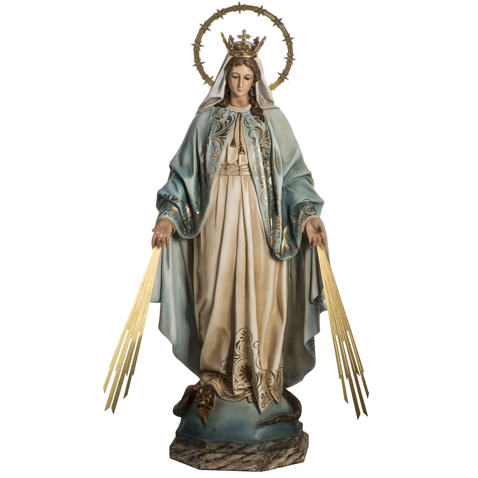 Our Lady of Miracles statue in wood paste, Crystal eyes, 100 cm 4