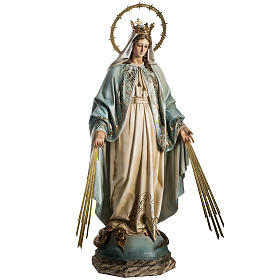 Our Lady of Miracles statue in wood paste, Crystal eyes, 100 cm s3