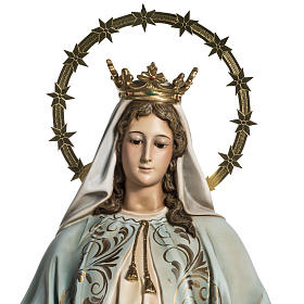 Our Lady of Miracles statue in wood paste, Crystal eyes, 100 cm s4