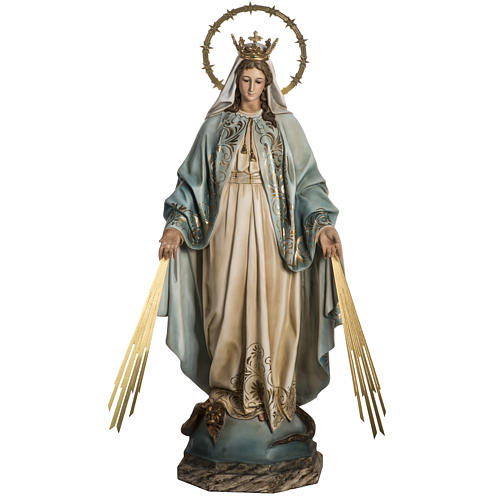 Our Lady of Miracles statue in wood paste, Crystal eyes, 100 cm 1