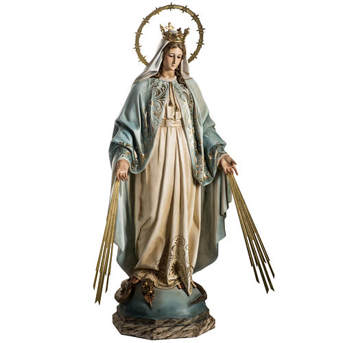Our Lady of Miracles statue in wood paste, Crystal eyes, 100 cm 3