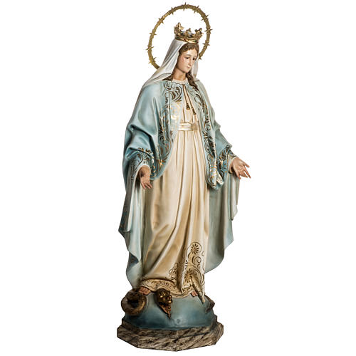 Our Lady of Miracles statue in wood paste, Crystal eyes, 100 cm 7