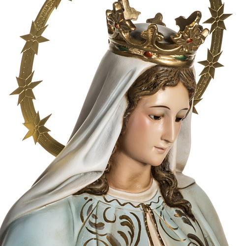 Our Lady of Miracles statue in wood paste, Crystal eyes, 100 cm 8