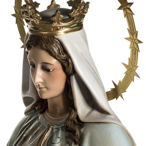 Our Lady of Miracles statue in wood paste, Crystal eyes, 100 cm 13