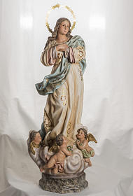Immaculate Statue in wood paste with crystal eyes, 80 cm s1