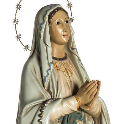 Our Lady of Lourdes Statue in wood paste, crystal eyes, 120 cm 3