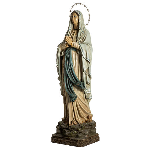 Our Lady of Lourdes Statue in wood paste, crystal eyes, 120 cm 7