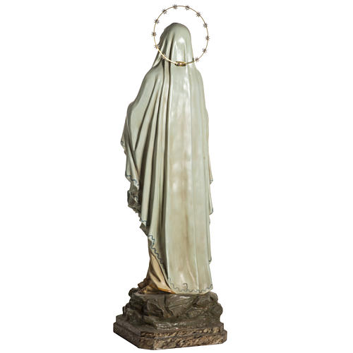 Our Lady of Lourdes Statue in wood paste, crystal eyes, 120 cm 9
