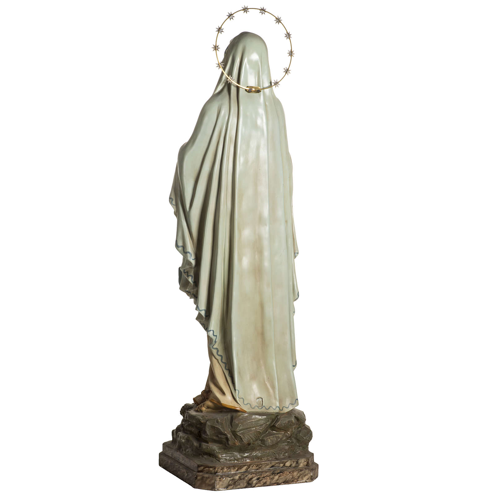 Madonna Lourdes 120 cm pasta legno occhi cristallo dec. elegante 4