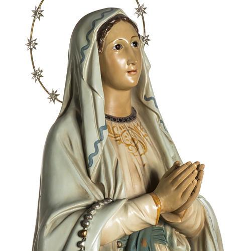 Madonna Lourdes 120 cm pasta legno occhi cristallo dec. elegante 3