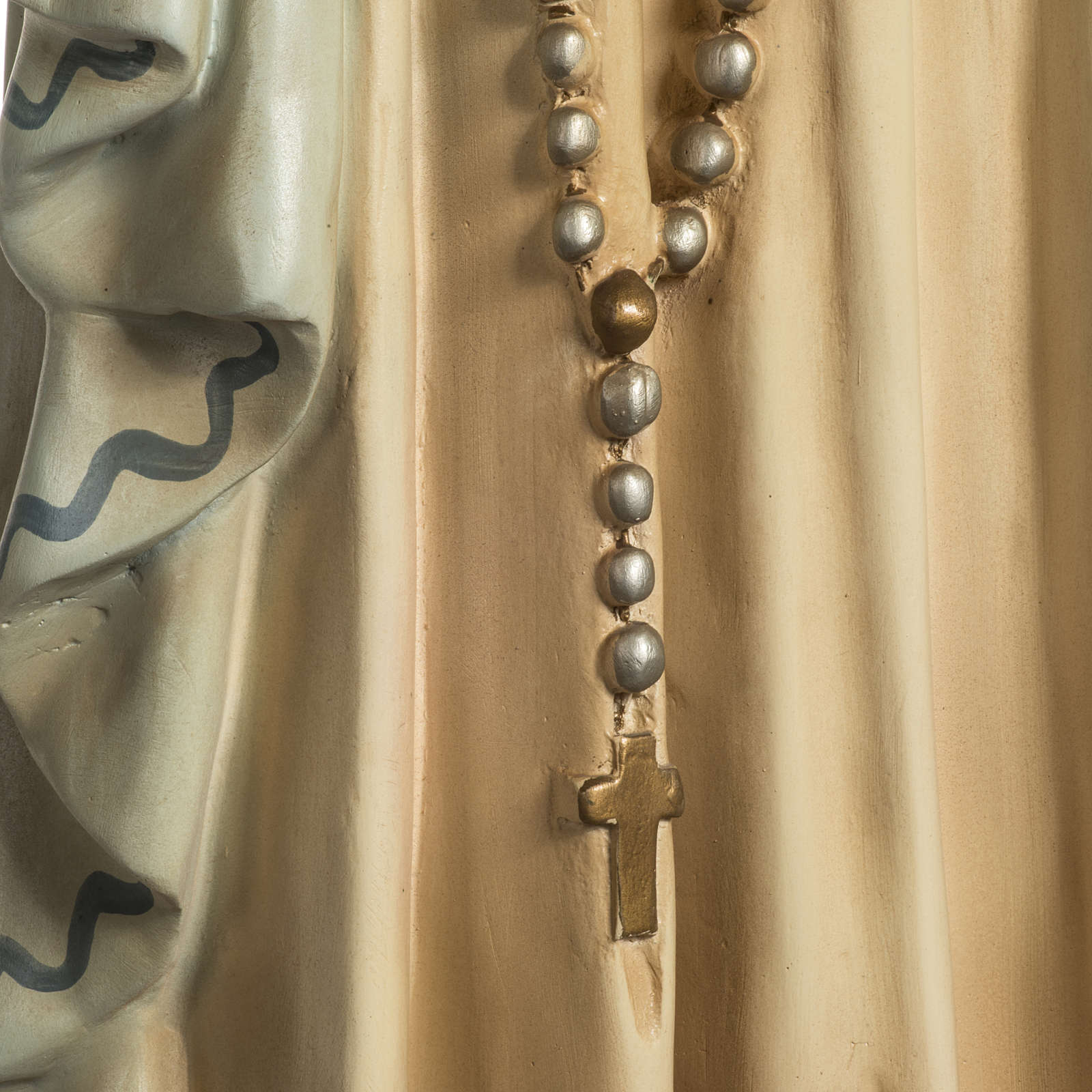 Our Lady of Lourdes Statue in wood paste, crystal eyes, 120 cm 4