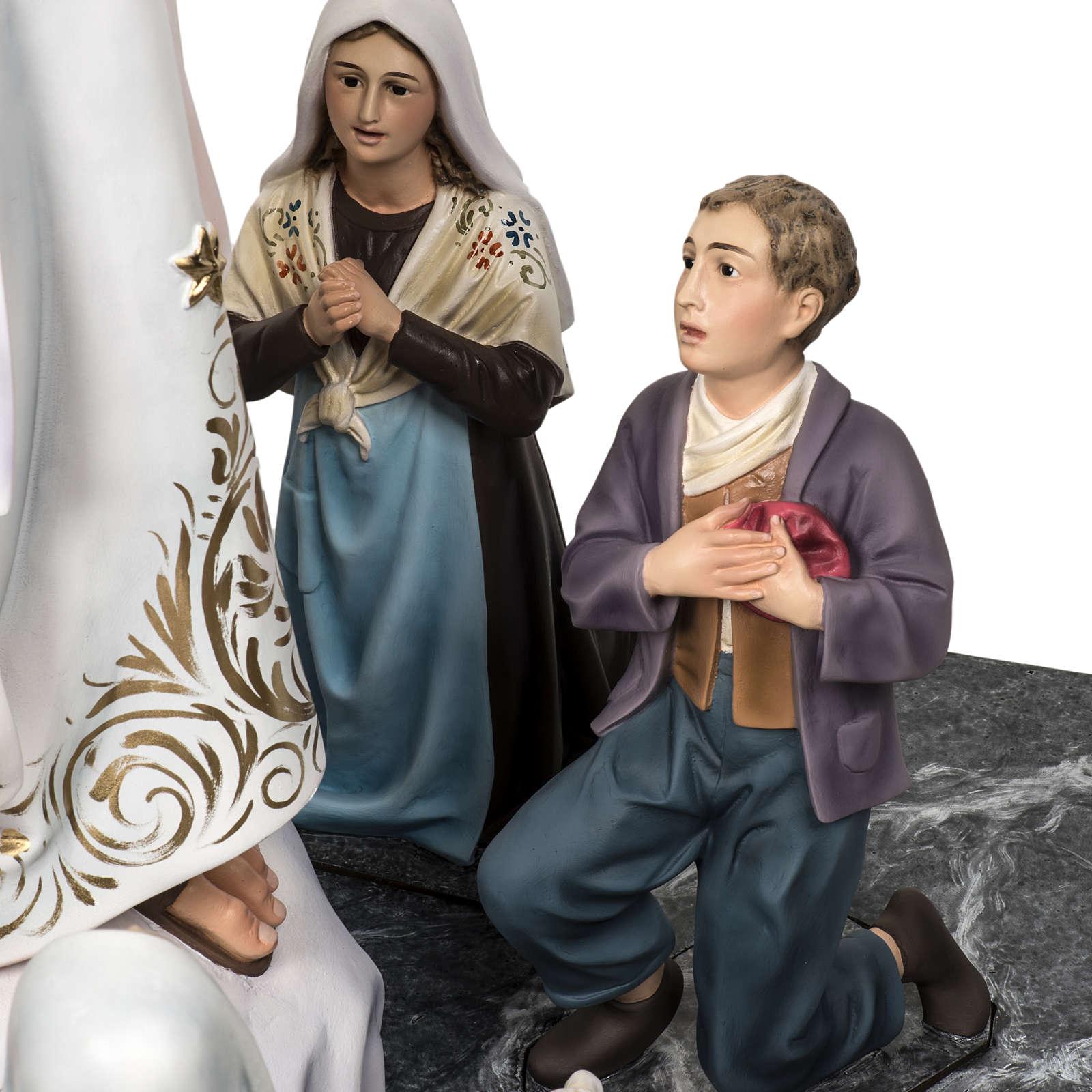 Notre Dame de Fatima 120cm avec bergers pâte à bois 4