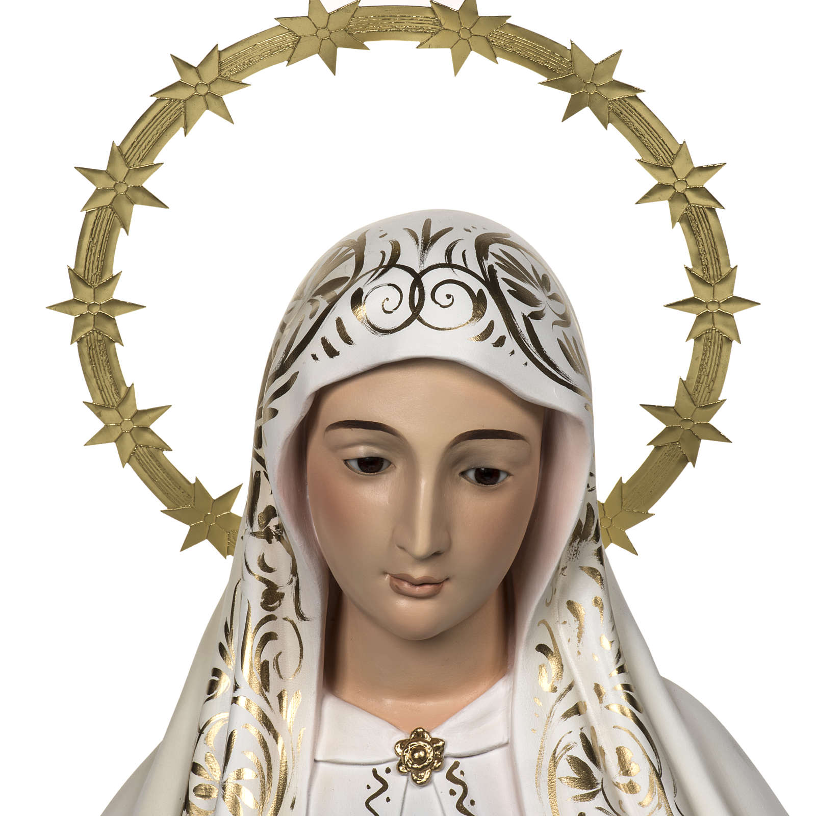Our Lady of Fatima with shepherds 120cm in wood paste, elegant d 4