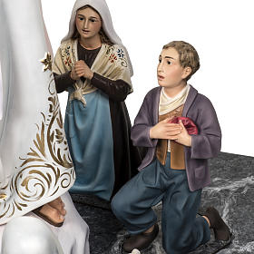 Our Lady of Fatima with shepherds 120cm in wood paste, elegant d s9