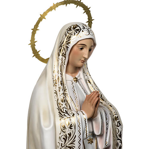 Our Lady of Fatima with shepherds 120cm in wood paste, elegant d 6