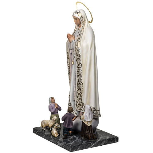 Our Lady of Fatima with shepherds 120cm in wood paste, elegant d 7