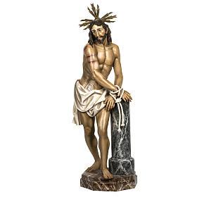 Cristo alla colonna 180 cm pasta di legno dec. anticata