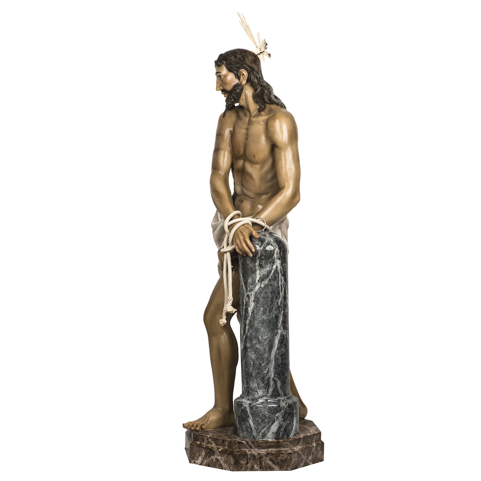 Christ at the Column 180cm in wood paste, antique decoration 4
