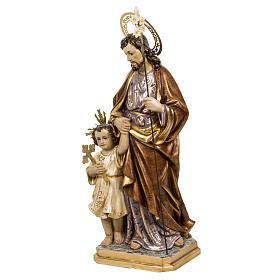 San Giuseppe con bimbo 60 cm pasta di legno finitura extra s9