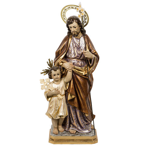 San Giuseppe con bimbo 60 cm pasta di legno finitura extra 1