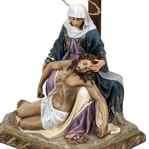 Pietà statue 50cm in wood paste, elegant decoration 5