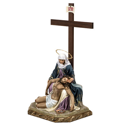 Pietà statue 50cm in wood paste, elegant decoration 6