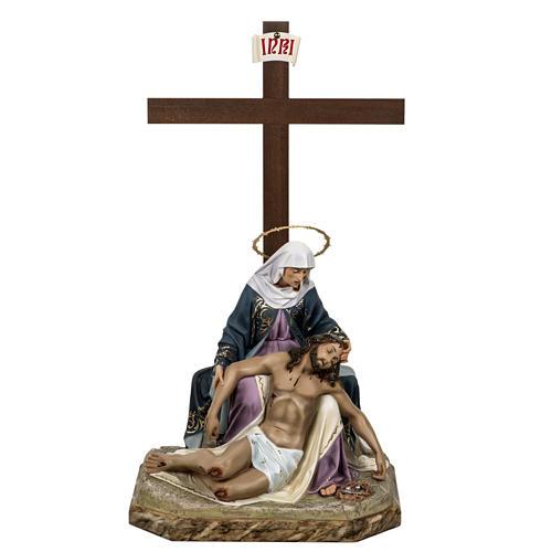 Pietà 50 cm pasta di legno dec. elegante 1