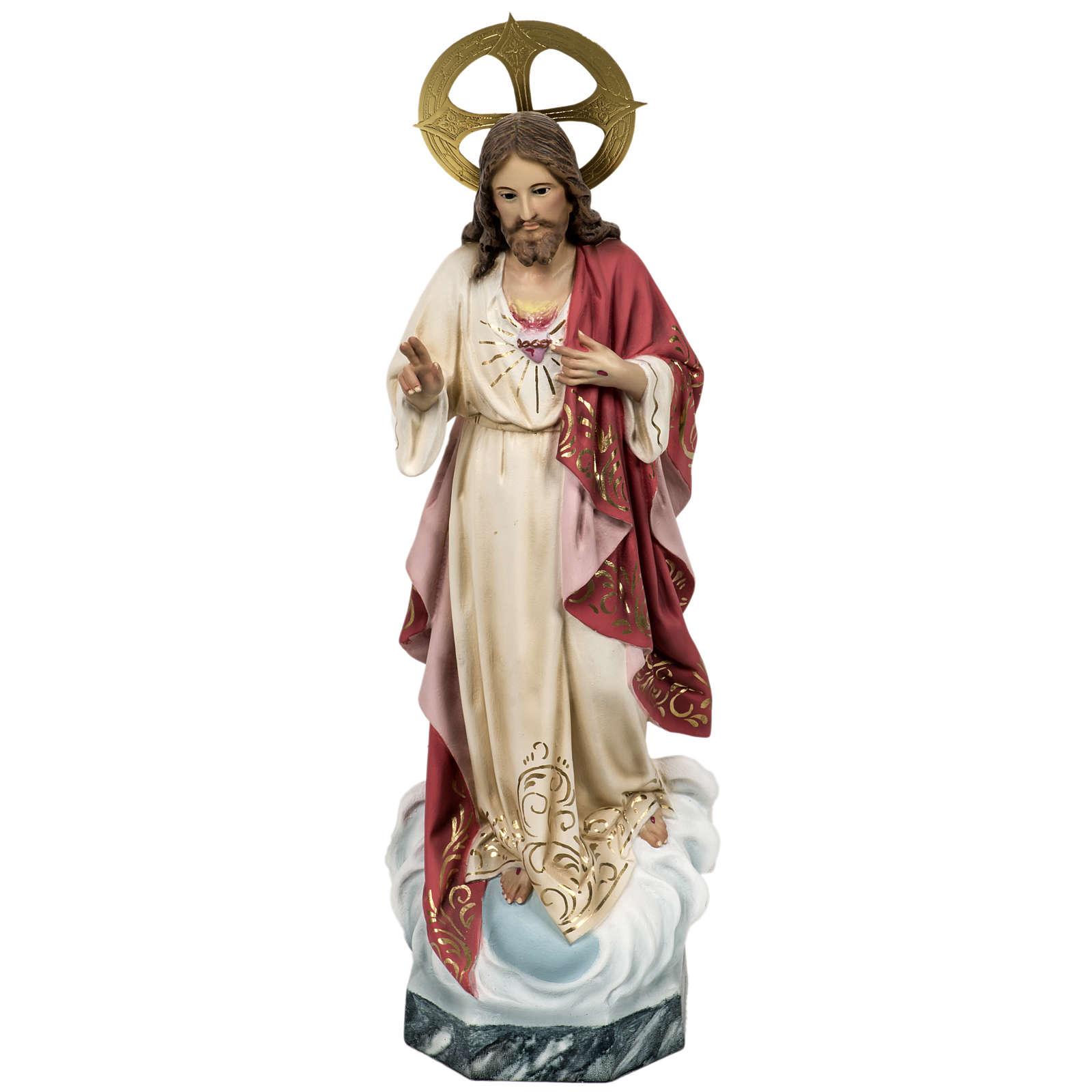 Sacred Heart of Jesus statue 80cm in wood paste, elegant decorat 4