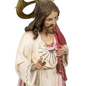 Sacred Heart of Jesus statue 80cm in wood paste, elegant decorat s4