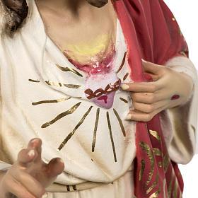 Sacred Heart of Jesus statue 80cm in wood paste, elegant decorat s5