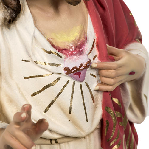Sacred Heart of Jesus statue 80cm in wood paste, elegant decorat 5