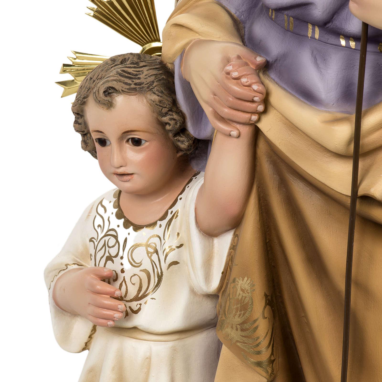 Saint Joseph with baby statue 60cm in wood paste, elegant finish 4
